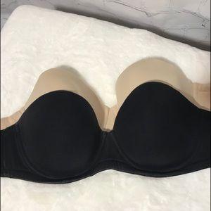 Wacoal Strapless Bra bundle 34DDD black and Nude
